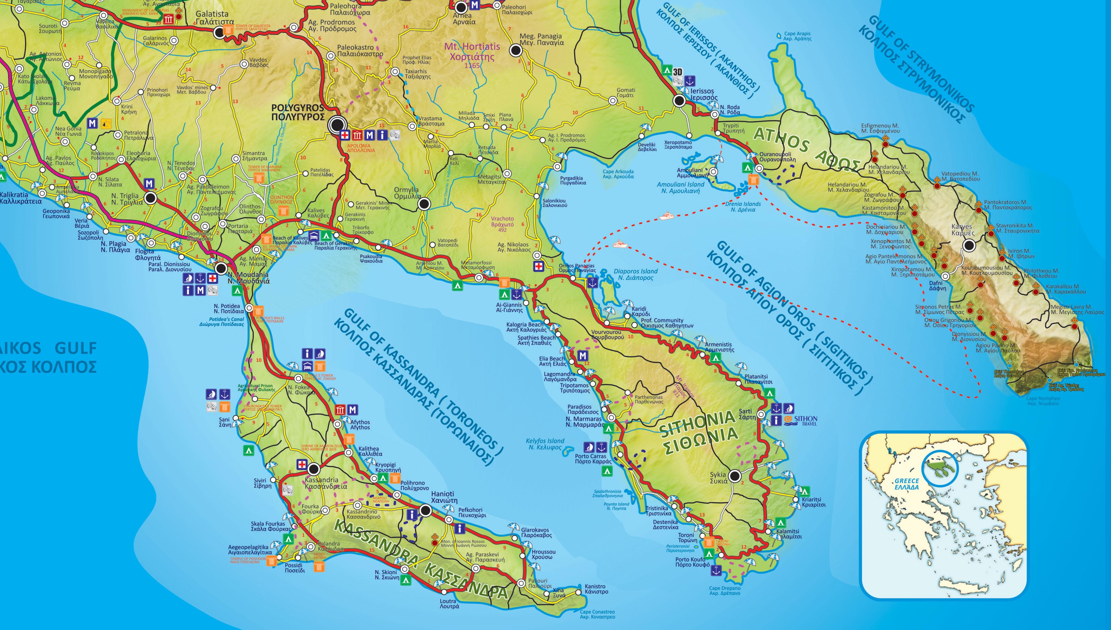 mapa grcke prvi prsten Halkidiki mapa grcke prvi prsten